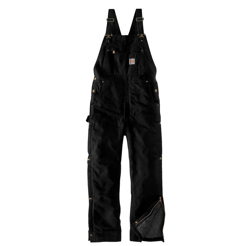 Men's Big Loose Fit Firm Duck Insulated Bib Overall, Black, large image number 0