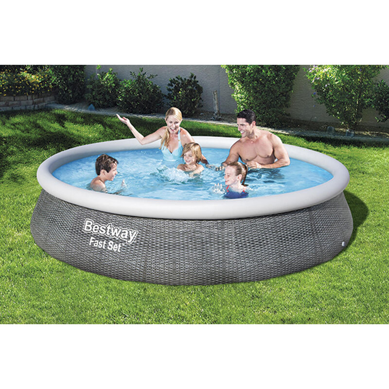 """Fast Set 13' x 33"""" Round Inflatable Pool Set with Rattan Print Liner, , large image number 0"""