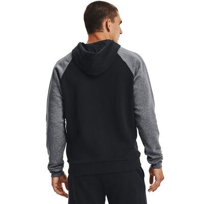 Men's Rival Fleece Colorblock Hood, Black, large