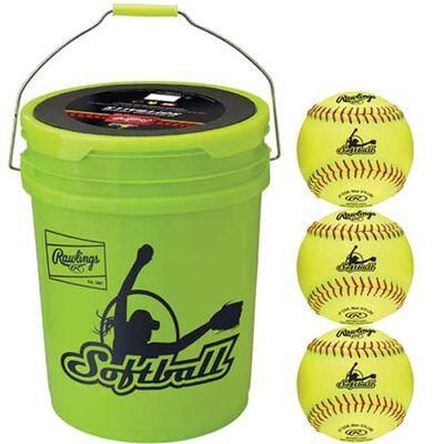 Rawlings Combo 6 Gallon Optic Yellow Bucket w/ 12 Fastpitch Softballs