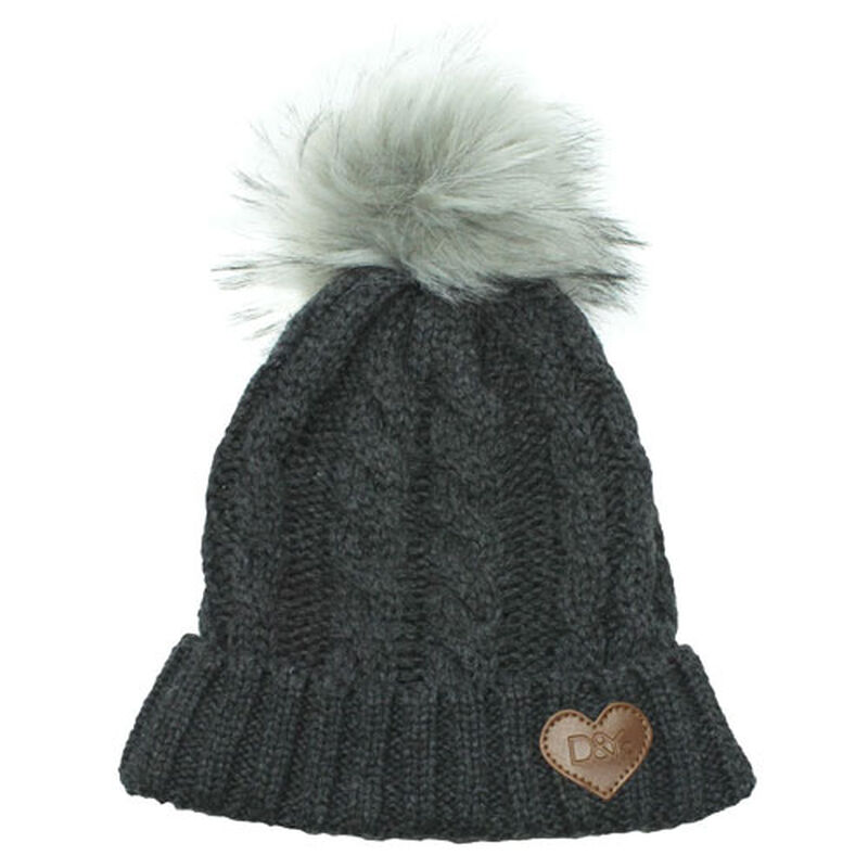 Women's Slinky Beanie With Faux Fur Pom, Heather Gray, large image number 0
