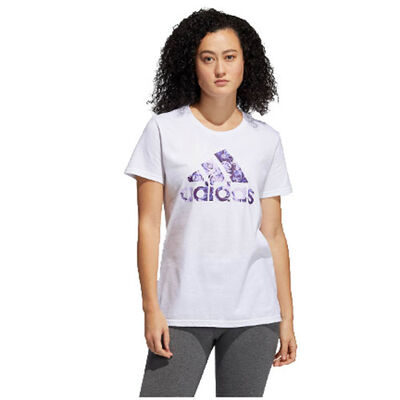 adidas Women's Roses Logo Short Sleeve Tee