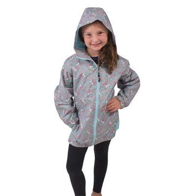 Girls' Grey Unicorn Jacket, , large