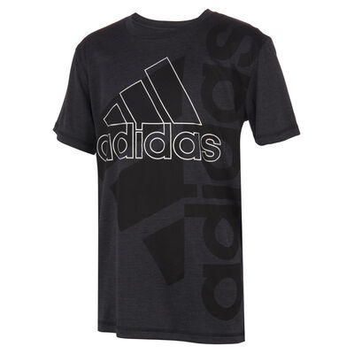 Boys' Short Sleeve AEROREADY Vertical Badge Of Sport Pigment Tee, Black, large