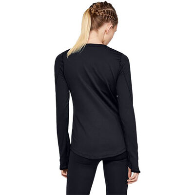 Women's Long Sleeve ColdGear Armour Fitted Crew, Black, large