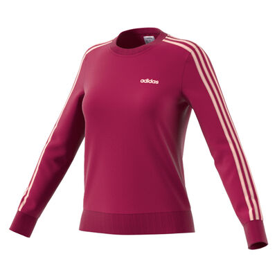 Women's Essentials 3 Stripes Hoodie, Hot Pink,Fuscia,Magenta, large