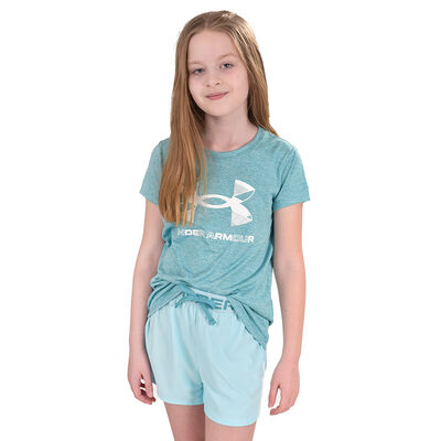 Girls' Short Sleeve Graphic Twist Tee, Green Blue, Teal, large