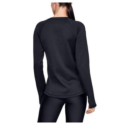 Women's Long Sleeve ColdGear Armour Crewneck, Black, large