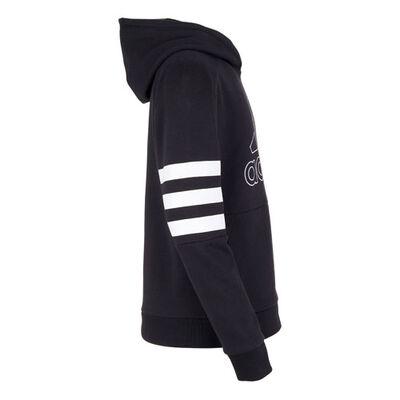 Boys' Badge of Sport Stripe Hoodie, Black, large