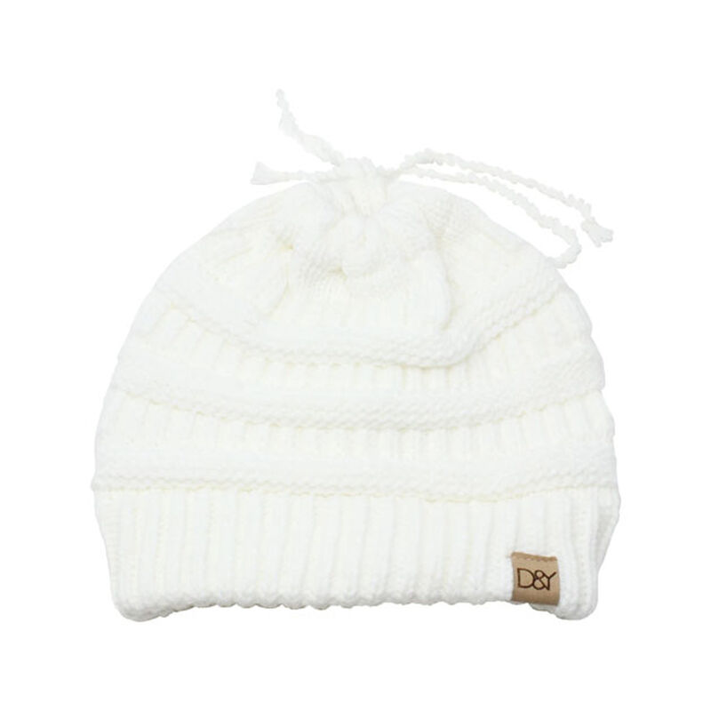 Women's Slinky Beanie With Faux Fur Pom, Cream,Natural,Eggshell, large image number 0