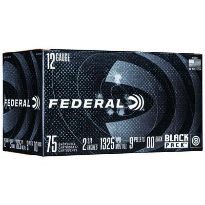 "Federal Power-Shok 12 Gauge Ammo 2-3/4"" 00 Buckshot 9 Pellets 75 Rounds"