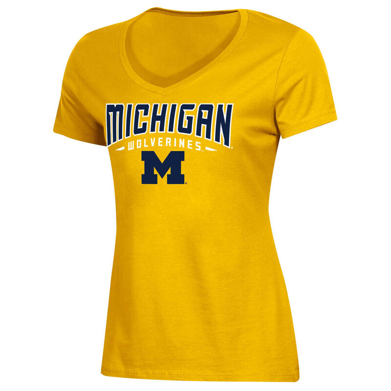 Women's University of Michigan Classic Arch Short Sleeve T-Shirt, Gold, Yellow, large image number 0