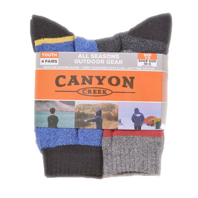 Canyon Creek Boys' 4 Pack All Season Crew Socks
