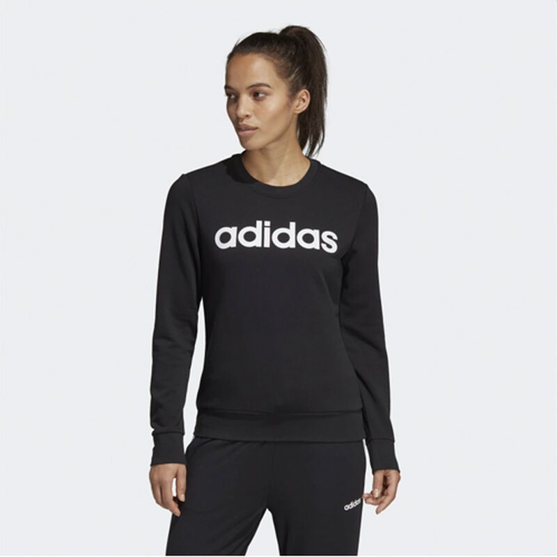 Women's Essentials Linear Training Sweatshirt, Black/White, large image number 1