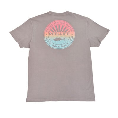 Men's Short Sleeve Ombre Circle Fish Tee, Charcoal,Smoke,Steel, large
