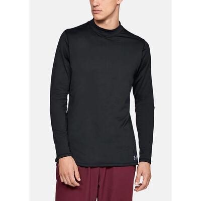 Men's Long Sleeve ColdGear Armour Mock Neck Shirt, Black, large