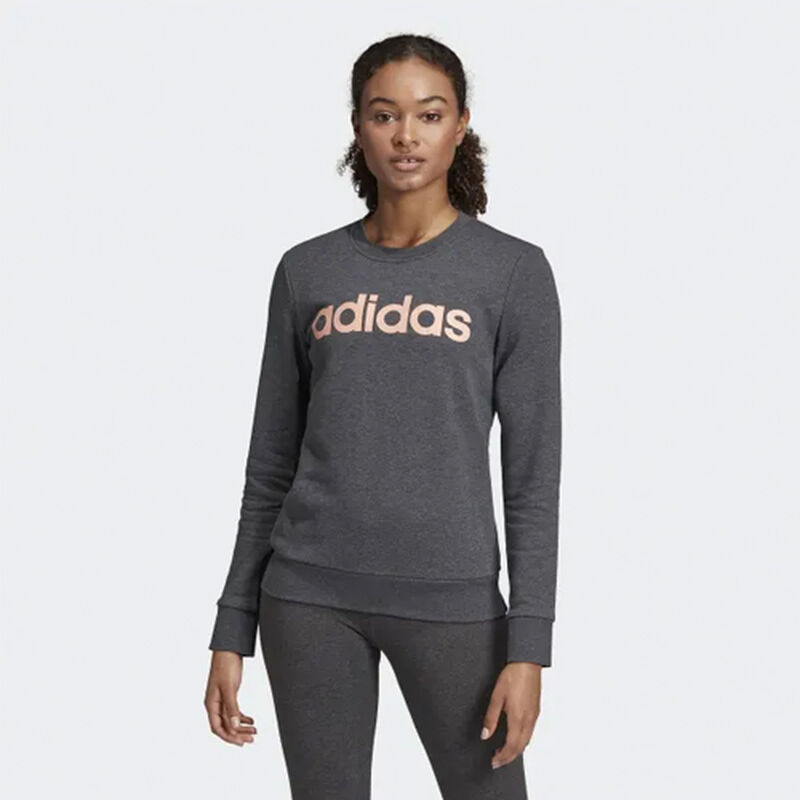 Women's Essentials Linear Training Sweatshirt, Heather Gray, large image number 1