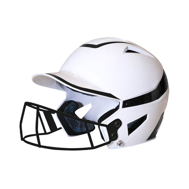 Junior 2-Tone Fast Pitch Helmet with mask, White/Black, large image number 0