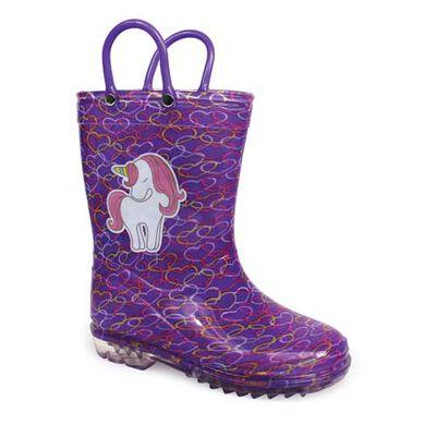 Delias Girls' Purple Unicorn Rain Boot