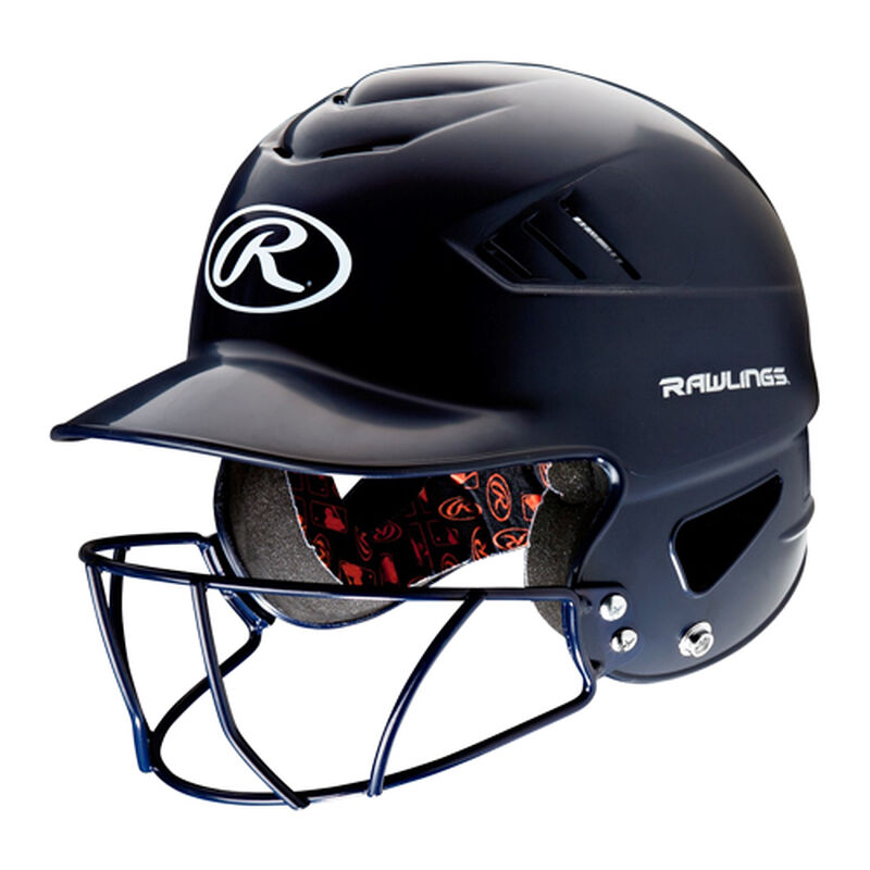 Youth Coolflo Batting Helmet With Cage, Navy, large image number 0