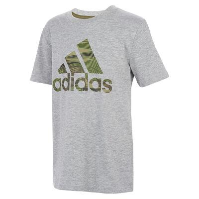 adidas Boys' Short Sleeve Camo Badge Of Sport Heather Tee