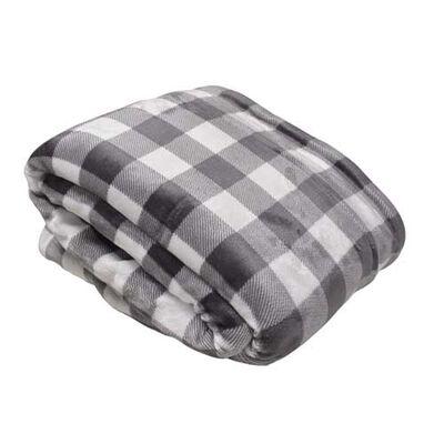 Montauk Charcoal and White Buffalo Plaid Blanket