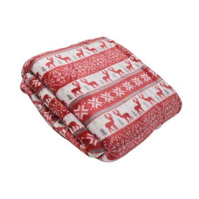 Montauk Fair Isle Snow and Deer Print Blanket