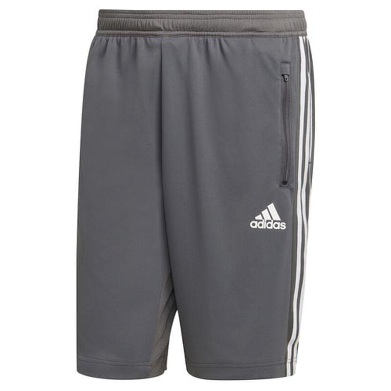 Men's 3 Stripe Poly Interlock Shorts, Dark Gray,Pewter,Slate, large image number 0