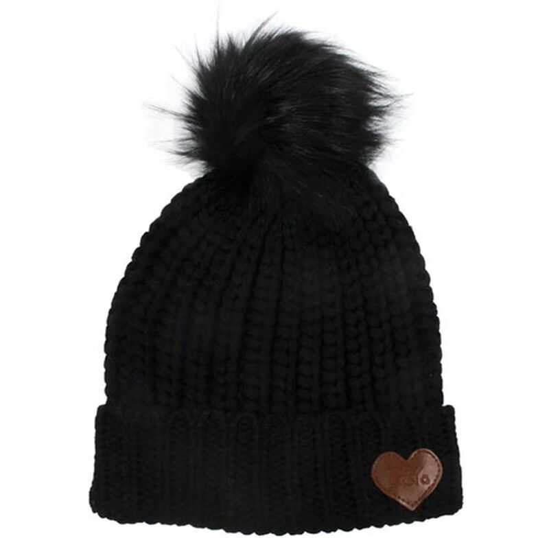 Women's Slinky Beanie With Faux Fur Pom, Black, large image number 0