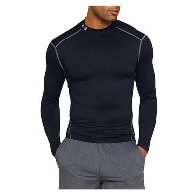 Men's ColdGear EVO Fitted Mock Long Sleeve Shirt, Black, large