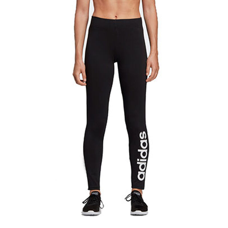Women's Adidas Essentials Linear Tights, Black/White, large image number 0