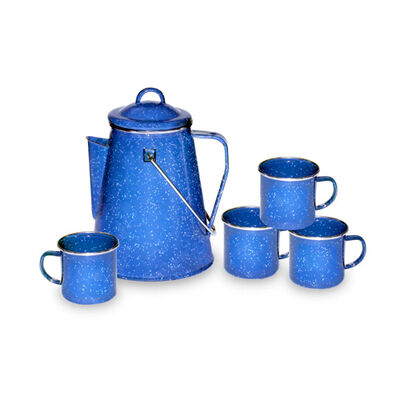 Stansport Enamel Percolator Coffee Pot and Set of 4 Mugs