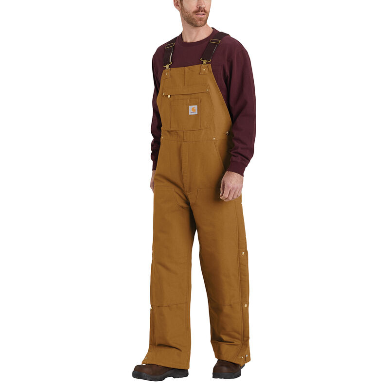 Men's Loose Fit Zip-to-Thigh Bib Overall, Wheat, large image number 1