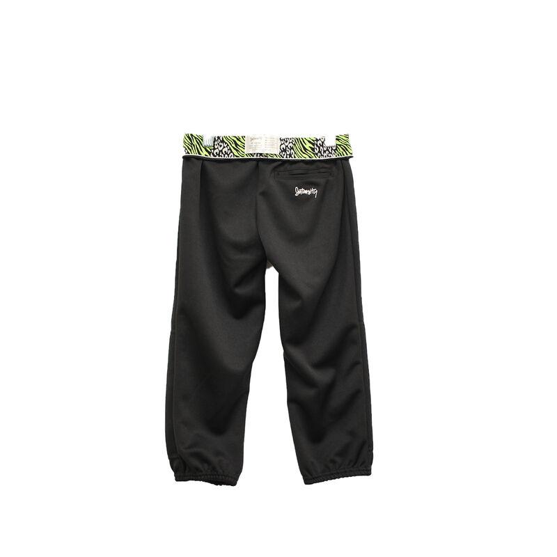 Girls' Wild Print Waistband Tee Ball Pants, Black/Yellow, large image number 0