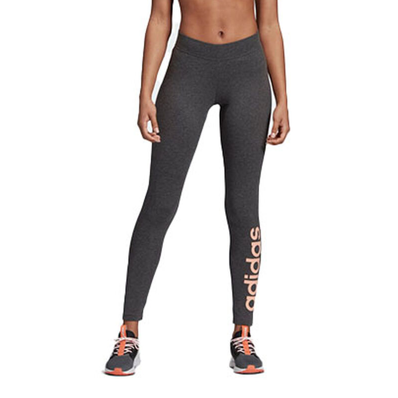 Women's Adidas Essentials Linear Tights, Heather Gray, large image number 0