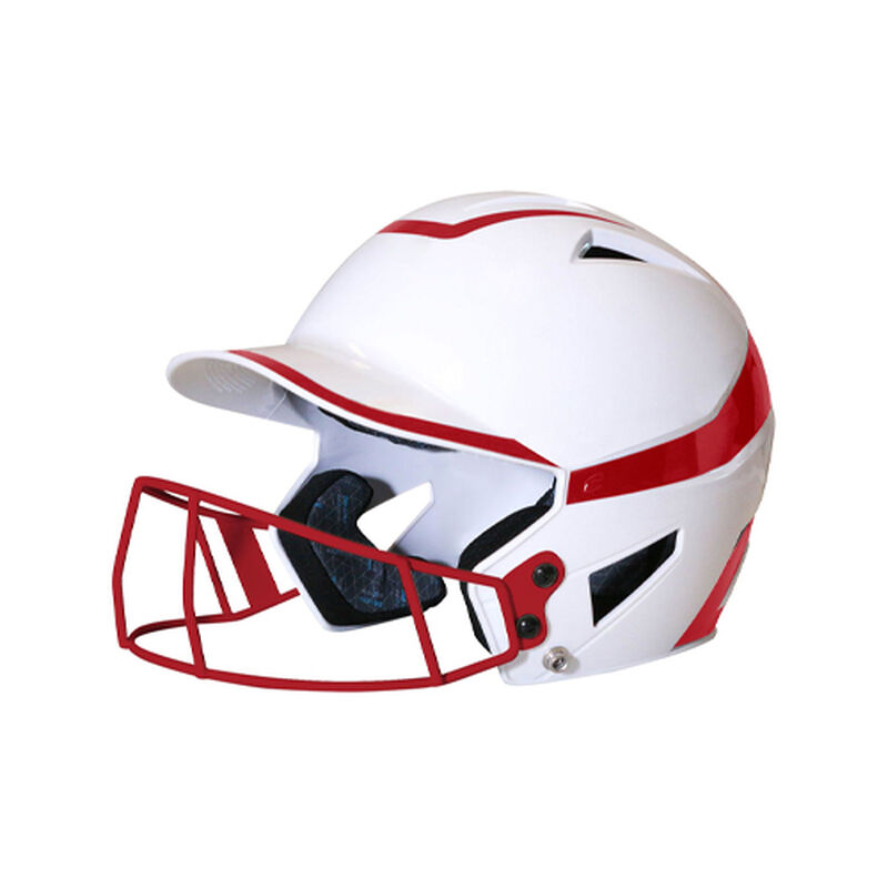 Junior 2-Tone Fast Pitch Helmet with mask, White/Red, large image number 0