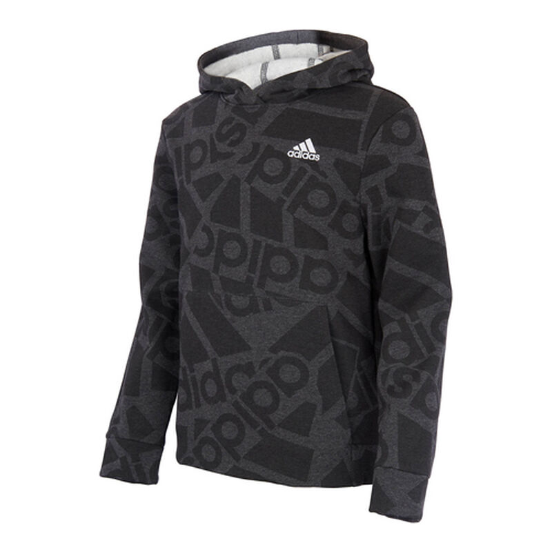 Boys' Badge of Sport Collage Hoodie, Gray, large image number 0