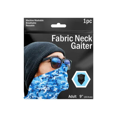 """9"""" Camouflage Printed Neck Gaiter 3 Asst Colors"""