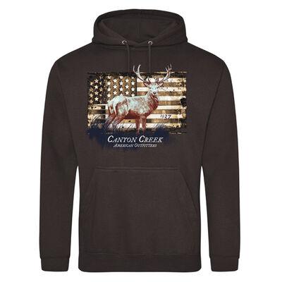 Canyon Creek Mens American Flag Deer Graphic Hoodie