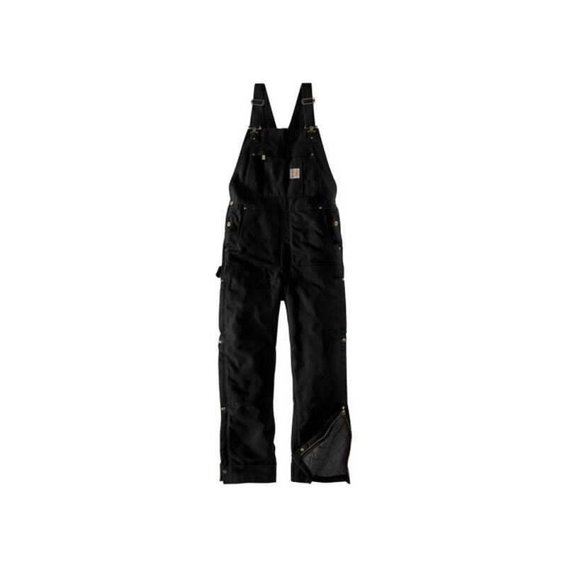 Men's Loose Fit Zip-to-Thigh Bib Overall, Black, large image number 0
