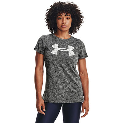 Women's Short Sleeve Tech Twist Tee, Charcoal,Smoke,Steel, large