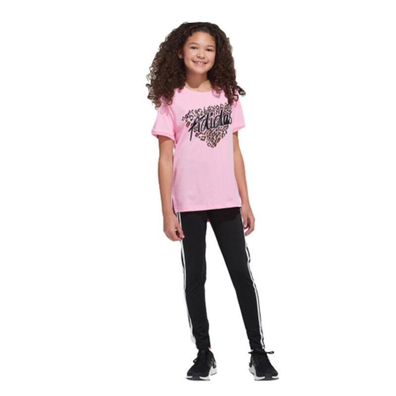 Girls' Short Sleeve Droptail Tee, Pastel Pink,Theatrical, large image number 0