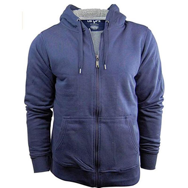 Men's Full Zip Sherpa Hoodie - Navy, , large image number 0