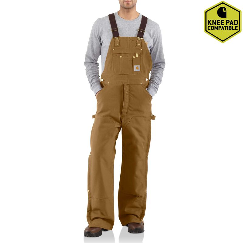 Duck Zip-to-Thigh Bib Overall/Quilt Lined, Brown, large image number 0