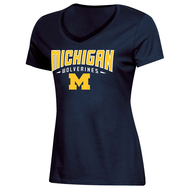 Women's University of Michigan Classic Arch Short Sleeve T-Shirt, Navy, large image number 0