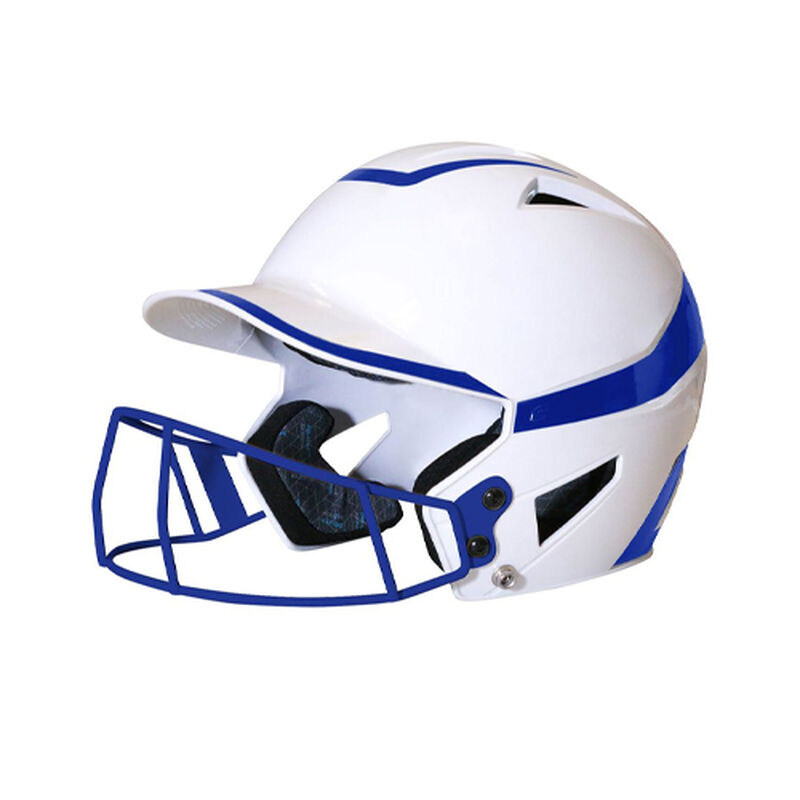 Junior 2-Tone Fast Pitch Helmet with mask, White/Royal, large image number 0