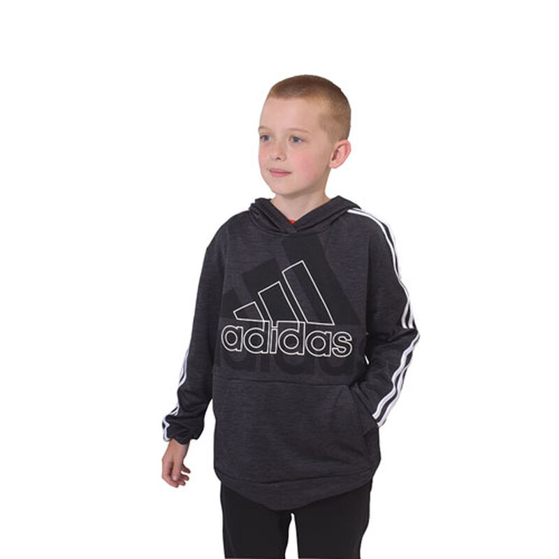 Boys' Statement Badge of Sport Pullover Hoodie, Black, large image number 0