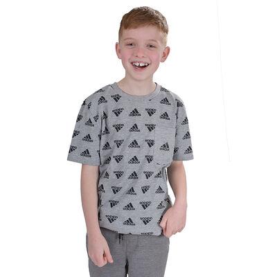 adidas Boys' Short Sleeve Brand Love Printed Heather Tee