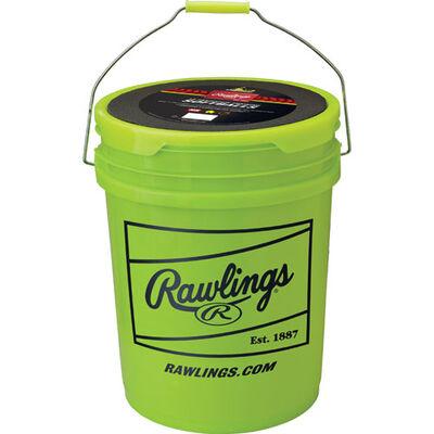 Combo 6 Gallon Optic Yellow Bucket w/ 12 Fastpitch Softballs, , large