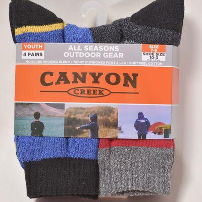 Boys' 4 Pack All Season Crew Socks, , large